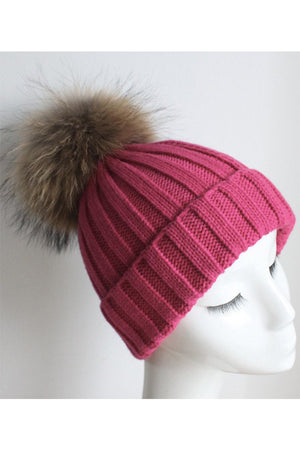 Deep Pink Knitted Hat with Raccoon Pom Pom
