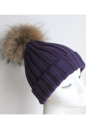 Deep Purple Knitted Hat with Raccoon Pom