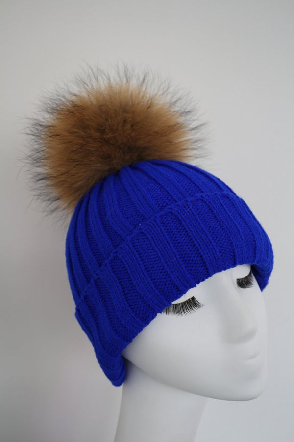 Electric Blue Knitted Hat with Raccoon Pom