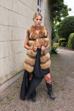 Raccoon long Gilet Natural