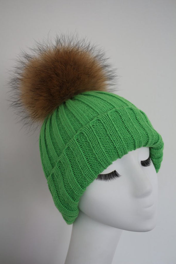Green Knitted Hat with Raccoon Pom