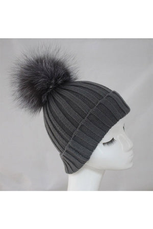 Grey Hat with Silver Raccoon Pom