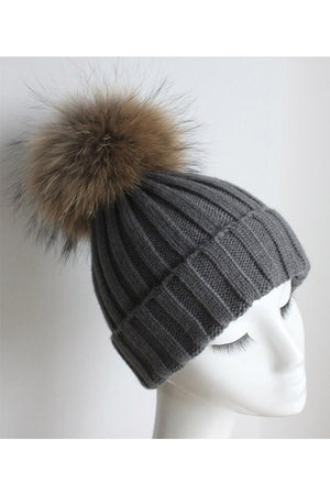 Grey Knitted Hat with Raccoon Pom