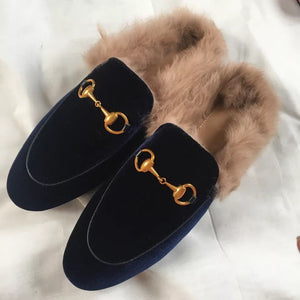 Velvet Mules with Fur
