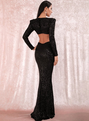 BLACK SEQUIN MAXI