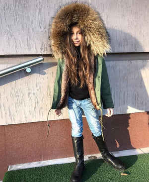 Kids Green Parka with Natural Fur