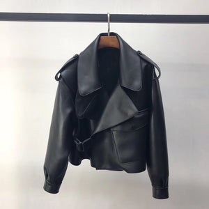MAJA LEATHER JACKET - BLACK