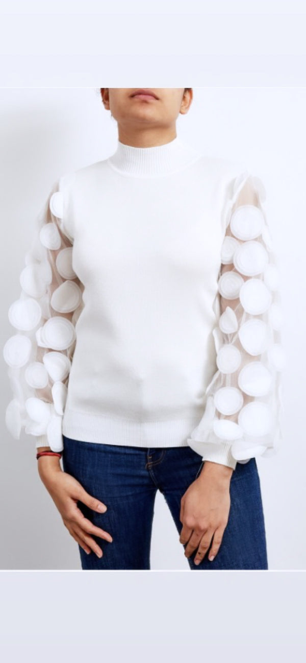 White Ribbed Balloon Mesh Disc Sleeve Top