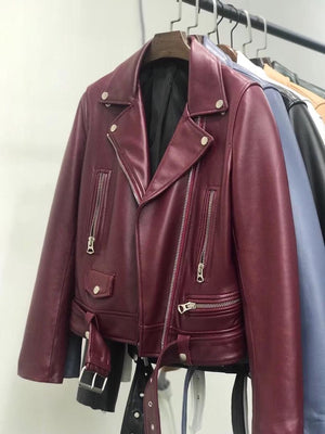 Dark Red Leather Biker
