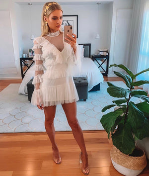 White Lace Ruffle Dress