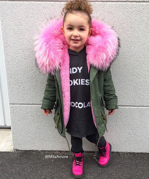 Kids Green Parka with Baby Pink Fur