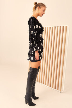 THOUSAND TIMES LONG SLEEVE DRESS BLACK SPOT