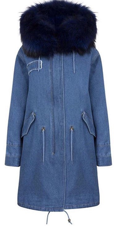 Denim Parka 3/4 with blue fur