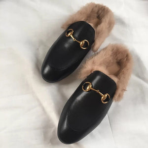 Leather Mules with Fur