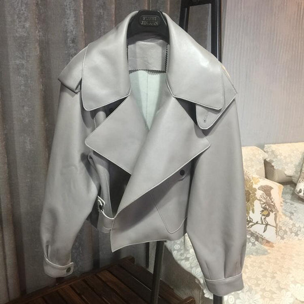 MAJA LEATHER JACKET - GREY