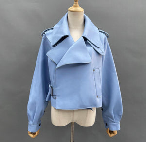 MALA LEATHER JACKET - Powder Blue