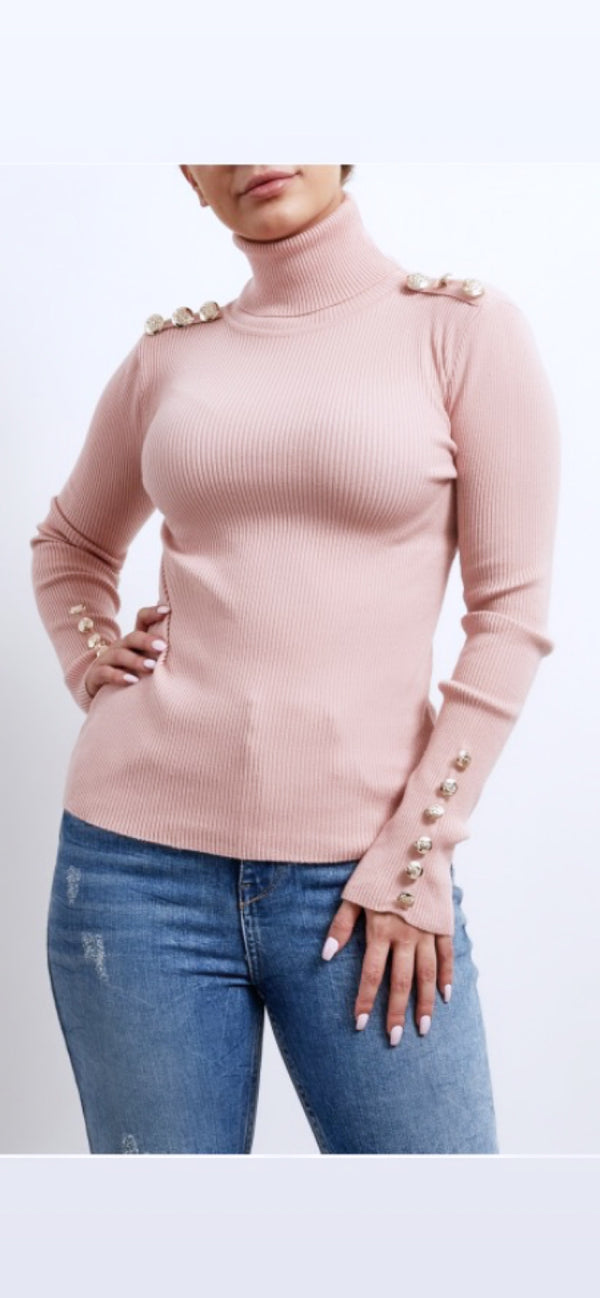 Dusty Pink Roll Neck Gold Button Detail Jumper