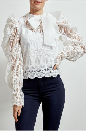 White Pussy Bow Lace Puff Sleeve Top