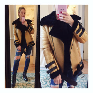 Lamb Shearling Gold Metalic