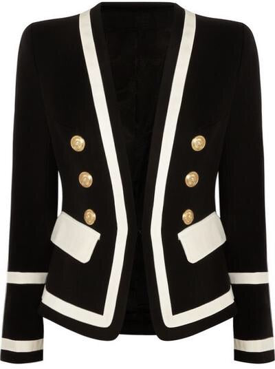 Black & White Gold Button Blazer