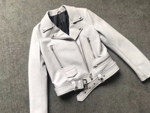 White Leather Biker