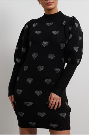 Black Heart Print Jumper Dress
