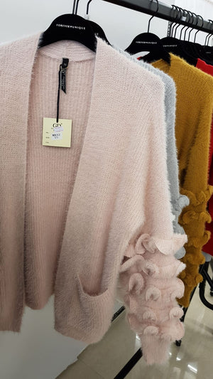 Wool Cardigan with ruffle detail
