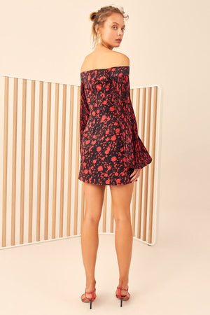 ONLY WITH YOU MINI DRESS BLACK W CHILLI FLORAL