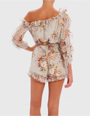 Grey Floral Playsuit
