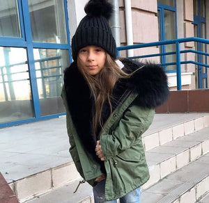 Kids Green Parka with Black Fur