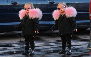 Kids Black Parka with baby pink Fur