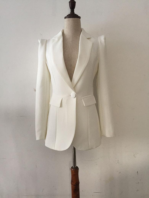 WHITE BLAZER WITH SHOULDERS
