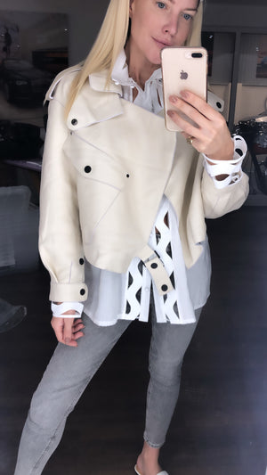 MAJA LEATHER JACKET - OFF WHITE