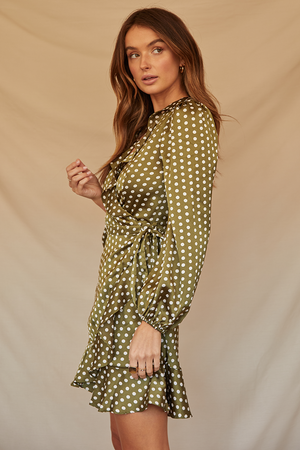EVANGELINE WRAP DRESS-GREEN SPOT