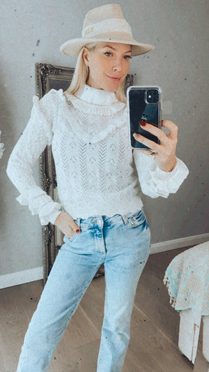 Ivory Ruffle Sleeve High Neck Jumper