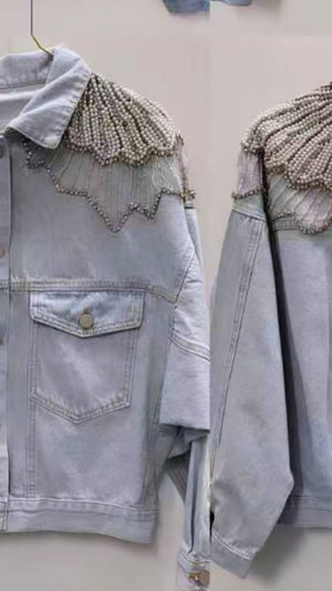 PEARL & RHINESTONE DENIM JACKET
