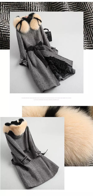 LUX WOOL HERRINGBONE COAT