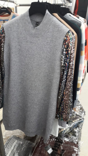 Sequin Sleeve Jumper Dress