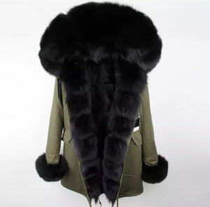 GREEN PARKA - DETACHABLE FUR - WATERPROOF
