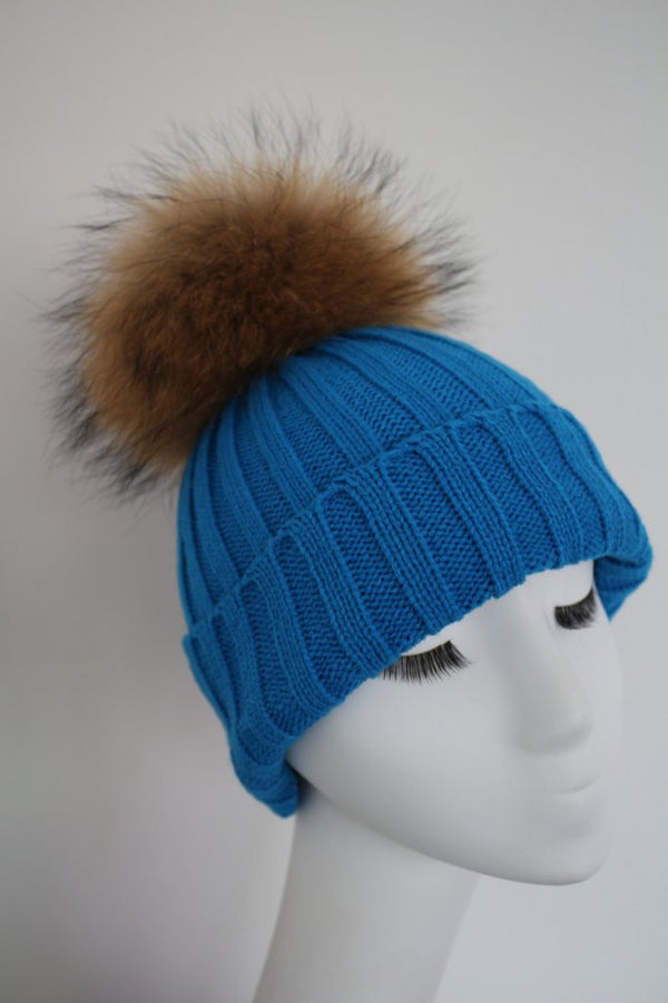 Light Blue Knitted Hat with Raccoon Pom