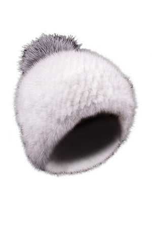 White Mink Hat with Raccoon Pom