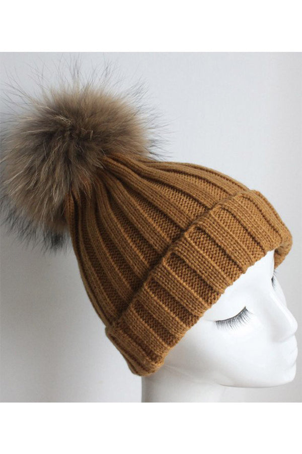 Mustard Knitted Hat with Raccoon Pom