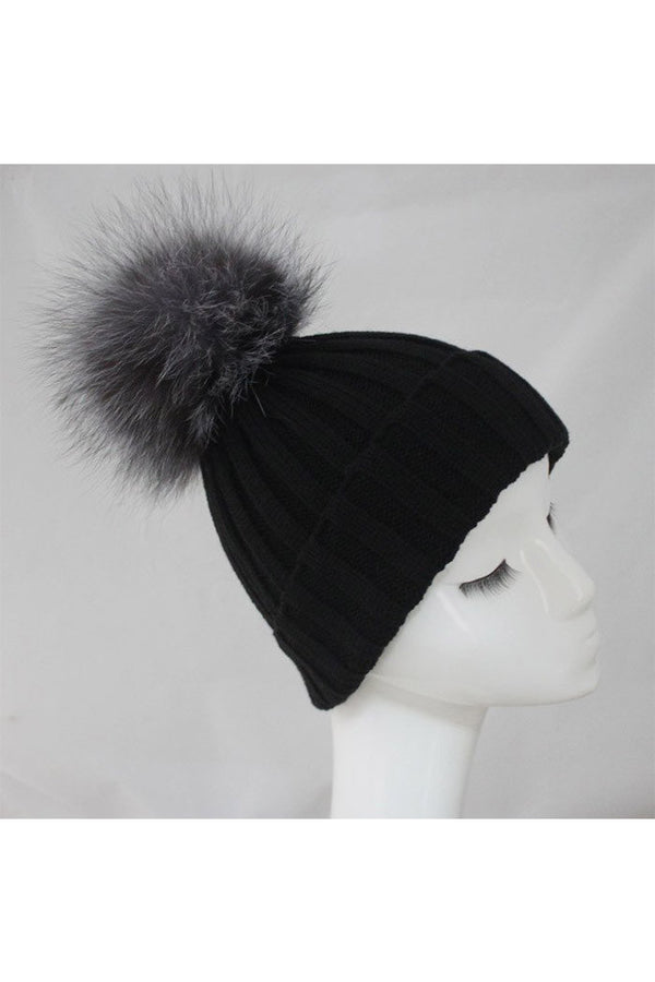 Navy Knitted Hat with Silver Pom