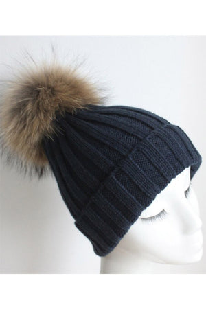 Navy Knitted Hat with Raccoon Pom