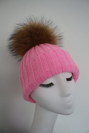 Pink Hat with Raccoon Pom