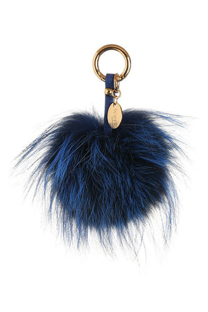Electric Blue Pom Pom Keyring