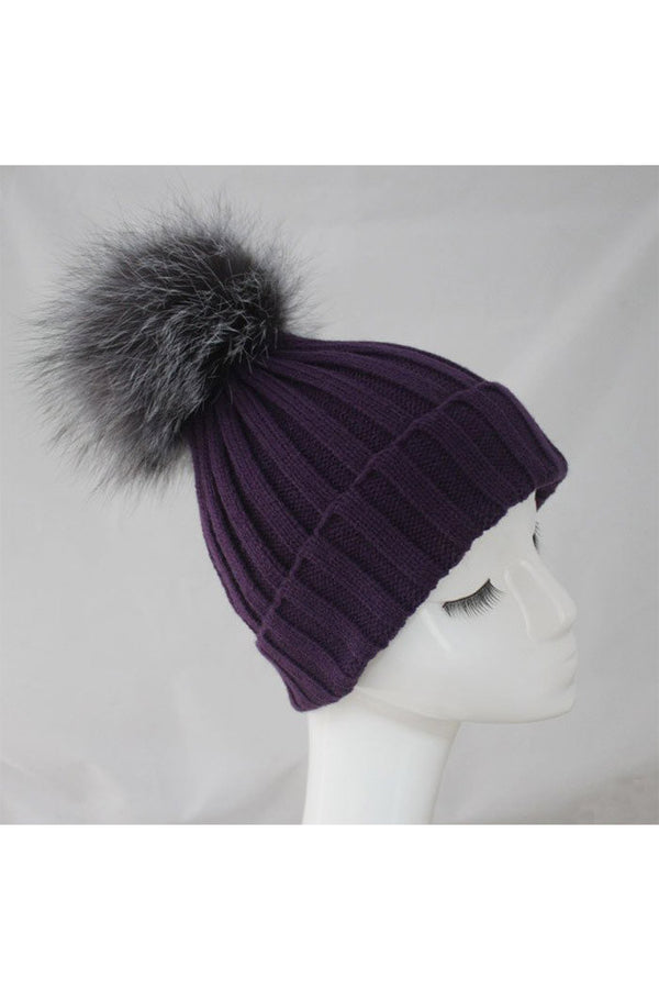 Purple Knitted Hat with Silver Pom