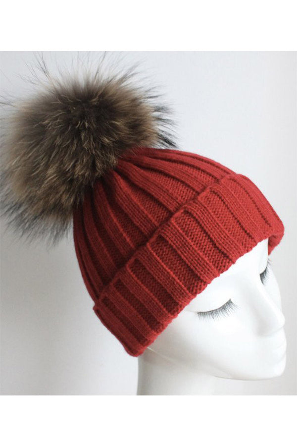 Red Knitted Hat with Raccoon Pom