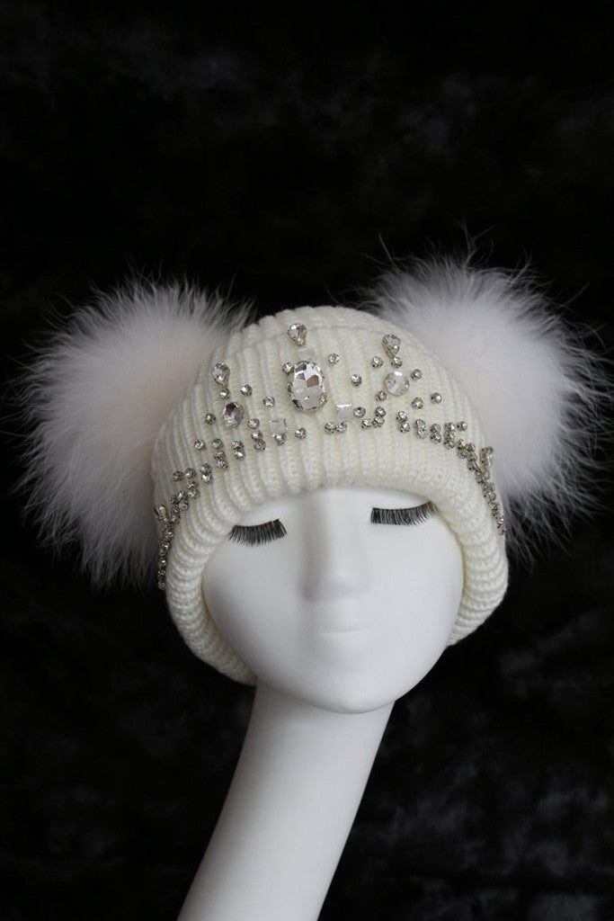 5989ca8df1f Double Pom Hat in White - The Fashion Dollz