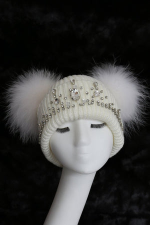Double Pom Hat in White